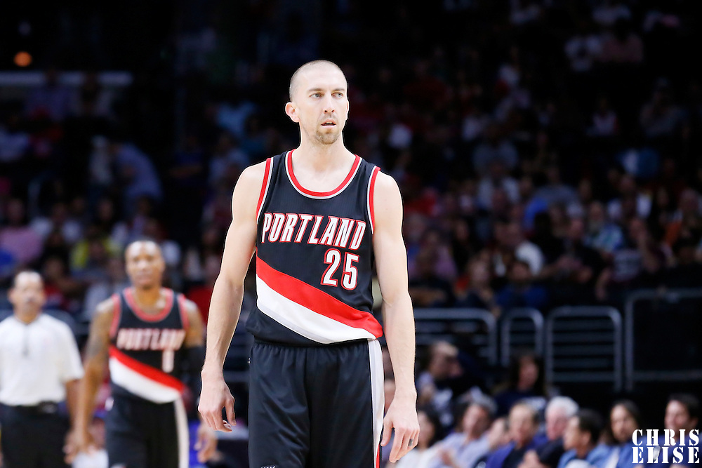 08 November 2014: Portland Trail Blazers guard Steve Blake (25) is seen during the Los Angeles Clippers 106-102 victory over the Portland Trail Blazers, at the Staples Center, Los Angeles, California, USA.
