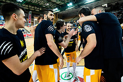 Players of Sixt Primorska celebrate after winning during basketball match between KK Sixt Primorska and KK Hopsi Polzela in final of Spar Cup 2018/19, on February 17, 2019 in Arena Bonifika, Koper / Capodistria, Slovenia. KK Sixt Primorska became Slovenian Cup Champion 2019. Photo by Vid Ponikvar / Sportida