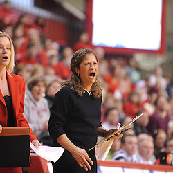Jan 31, 2009; Piscataway, NJ, USA; Rutgers head coach C. Vivian Stringer (right) and associate head coach Carlene Mitchell (left) yell instructions during the final South Florida inbounding play of South Florida's 59-56 victory over Rutgers in NCAA women's college basketball at the Louis Brown Athletic Center