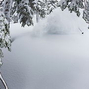 Tyler Hatcher hits the mother load of snow in the Mount Baker backcountry.