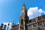 Ratskeller clock tower of Neues Rathaus in Marienplatz in Munich, Bavaria, Germany