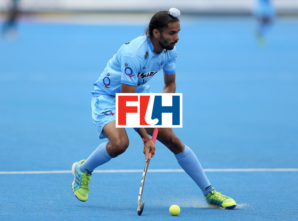 LONDON, ENGLAND - JUNE 24: Akashdeep Singh of India in action during the 5th-8th place match between Pakistan and India on day eight of the Hero Hockey World League Semi-Final at Lee Valley Hockey and Tennis Centre on June 24, 2017 in London, England. (Photo by Steve Bardens/Getty Images)