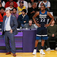 25 December 2017: Minnesota Timberwolves forward Andrew Wiggins (22) waits to enter the game next to Minnesota Timberwolves head coach Tom Thibodeau during the Minnesota Timberwolves 121-104 victory over the LA Lakers, at the Staples Center, Los Angeles, California, USA.