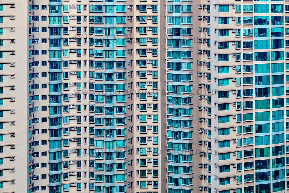Chine, Hong Kong, Hong Kong Island, quartier d'habitation très dense // China, Hong Kong, Hong Kong Island, densely crowded apartment buildings