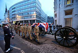 The early morning dress rehearsal for Baroness Thatcher's funeral procession in London,  Monday 15th April 2013 Photo by: Stephen Lock / i-Images<br /> <br /> File photo - One year ago: Baroness Thatcher died.<br /> On Tue, Apr 8 2014 it will be one year since the Longest-serving UK Prime Minister of the 20th century, the first and only woman to serve in the role to date, died on April 8, 2013  after suffering a stroke.