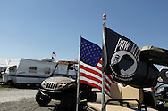 American and POW MIA flags. Vietnam Veterans gather in Kokomo, Indiana for the 2009 reunion.