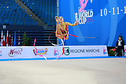 Kvieczynski Angelica during qualifying at ribbon in Pesaro World Cup at Adriatic Arena on 11 April 2015. Angelica is a Brazilian individual rhythmic gymnast born September 1, 1991 in Toledo, Brazil.