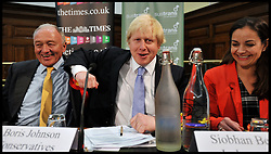 London Mayor Boris Johnson and Ken Livingstone at the Times Cycling Hustings in Central London, Monday April 30, 2012. Photo By Andrew Parsons/I-images