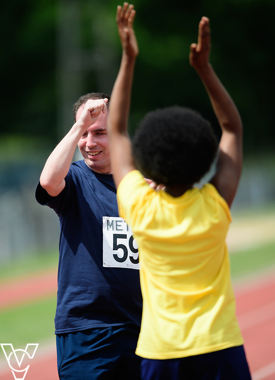 Metro Blind Sport's 2017 Athletics Open held at Mile End Stadium.  200m Senior Men - Final.  Vanja Sudar with guide runner<br /> <br /> Picture: Chris Vaughan Photography for Metro Blind Sport<br /> Date: June 17, 2017