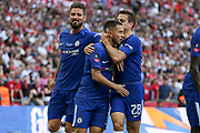 Chelsea Defender Cesar Azpilicueta congratulates Chelsea Midfielder Eden Hazard after his penalty goal 1-0 with Chelsea Oliver Giroud during the FA Cup Final between Chelsea and Manchester United at Wembley Stadium, London, England on 19 May 2018. Picture by Phil Duncan.