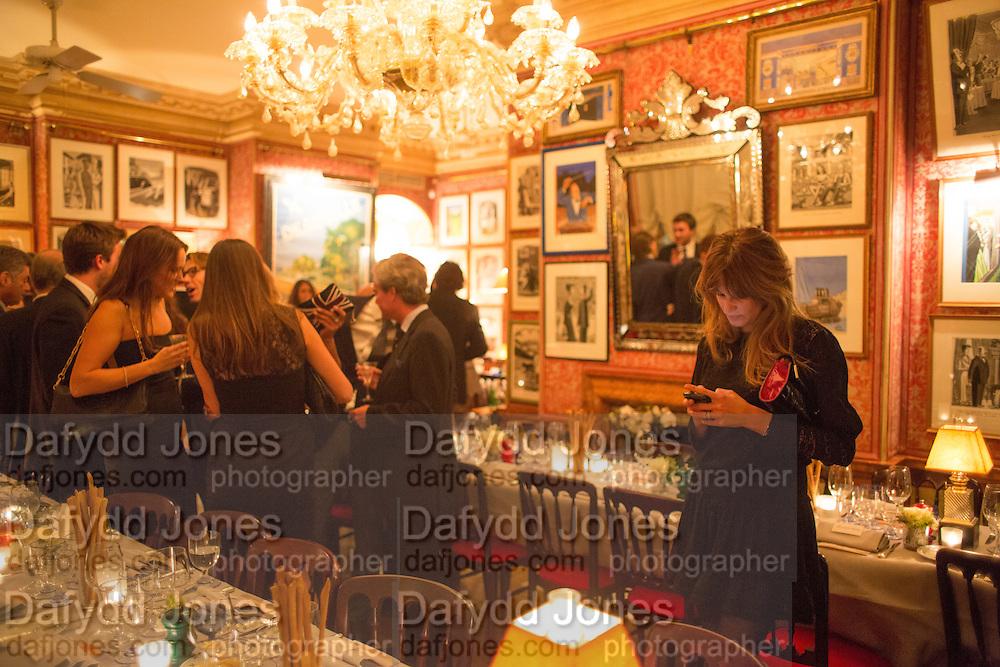 JEMIMA KHAN, Charles Finch and  Jay Jopling host dinner in celebration of Frieze Art Fair at the Birley Group's Harry's Bar. London. 10 October 2012.