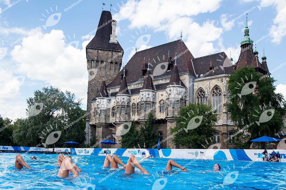 United States team training <br /> Synchronised swimming , Synchro<br /> 12/07/2017 <br /> XVII FINA World Championships Aquatics<br /> City Park - Varosliget Lake<br /> Budapest Hungary <br /> Photo Andrea Staccioli/Deepbluemedia/Insidefoto
