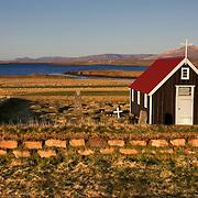 Chapel by the sea, Bjarnarhofn, on the Snaefellsnes Peninsula, Iceland.