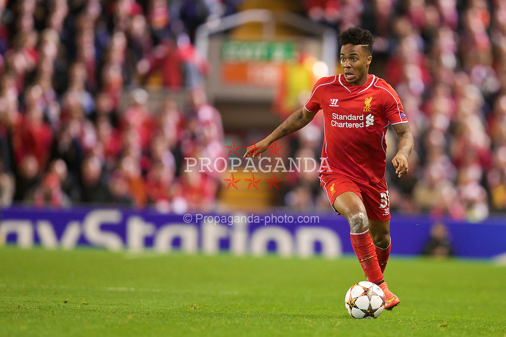 LIVERPOOL, ENGLAND - Wednesday, October 22, 2014: Liverpool's Raheem Sterling in action against Real Madrid CF during the UEFA Champions League Group B match at Anfield. (Pic by David Rawcliffe/Propaganda)
