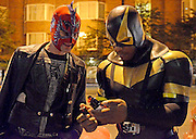"It's a Bird! It's a Plane! It's...Phoenix Jones?!<br /> They are ordinary men in extraordinary costumes, and they have risen from the ashes of our troubled republic to ensure the safety of their fellow citizens. Jon Ronson goes on patrol with Urban Avenger, Mr. Xtreme, Pitch Black, Knight Owl, Ghost, and the baddest-ass ""real-life superhero"" of them all, Phoenix Jones<br /> <br /> Five nights a week, Phoenix dresses in a superhero outfit of his own invention and chases car thieves and breaks up bar fights and changes the tires of stranded strangers.<br /> <br /> Phoenix didn't know this when he first donned the suit about a year ago, but he's one of around 200 real-life superheroes currently patrolling America's streets, looking for wrongs to right. There's DC's Guardian, in Washington, who wears a full-body stars-and-stripes outfit and wanders the troubled areas behind the Capitol building. There's RazorHawk, from Minneapolis, who was a pro wrestler for fifteen years before joining the RLSH movement. There's New York City's Dark Guardian, who specializes in chasing pot dealers out of Washington Square Park by creeping up to them, shining a light in their eyes, and yelling, ""This is a drug-free park!"" And there are dozens and dozens more. Few, if any, are as daring as Phoenix. Most undertake basically safe community work: helping the homeless, telling kids to stay off drugs, etc. They're regular men with jobs and families and responsibilities who somehow have enough energy at the end of the day to journey into America's neediest neighborhoods to do what they can.<br /> <br /> But what does being an urban crime-fighter involve and why do the 'real-life superheroes' feel a need to put their lives at risk?<br /> ""We are basically a citizen eye witness group. If we see a crime, we run to the victim, see if they want to press charges, at that point we'll go after the bad guy, catch him, and either hold them in position or dial 911 and wait until the cops arrive,"" Seattle 'superhero' Phoenix Jones says.<br /> ""When I see som"