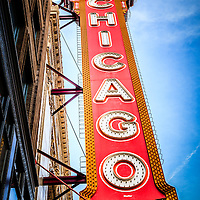 Chicago Theater sign picture. The Chicago Theatre is a popular venue for concerts and stage performances and is a landmark listed with the National Register of Historic Places.