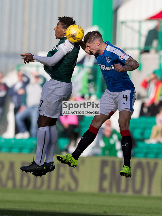 Hibernian FC v Rangers FC <br /> <br /> Rob Kiernan (Rangers) and Dom Malonga (Hibernian) during the SPFL Championship match between Hibernian FC and Rangers FC at Easter Road Stadium on Sunday 1 November 2015.<br /> <br /> Picture Alan Rennie.
