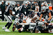 Erik Harris (S) of the Oakland Raiders  is tackled to the ground during the International Series match between Oakland Raiders and Chicago Bears at Tottenham Hotspur Stadium, London, United Kingdom on 6 October 2019.