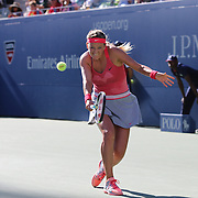 Victoria Azarenka, Belarus, in action during her victory over Flavia Pennetta, Italy, in the Women's Singles Semi Final at the US Open. Flushing. New York, USA. 6th September 2013. Photo Tim Clayton