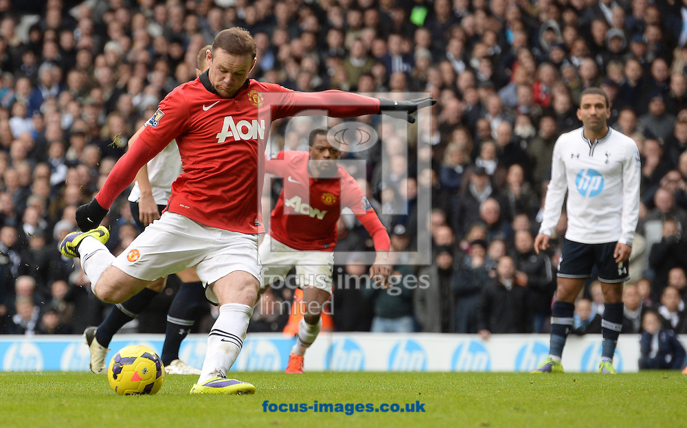 Picture by Andrew Timms/Focus Images Ltd +44 7917 236526<br /> 01/12/2013<br /> Wayne Rooney of Manchester United scoring their second goal from the penalty spot during the Barclays Premier League match against Tottenham Hotspur at White Hart Lane, London.
