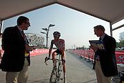 """Jurgen Van Den Broek with UCI officials before the start. #49 - 1'03"""" -- 2011 Tour of Beijing, Stage 1 ITT"""
