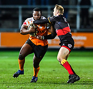 Cheetahs' Ox Nche is tackled by Dragons' Sarel Pretorius<br /> <br /> Photographer Craig Thomas/Replay Images<br /> <br /> Guinness PRO14 Round 18 - Dragons v Cheetahs - Friday 23rd March 2018 - Rodney Parade - Newport<br /> <br /> World Copyright © Replay Images . All rights reserved. info@replayimages.co.uk - http://replayimages.co.uk