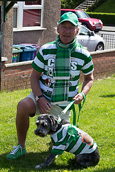 Celtic fan before the William Hill Scottish Cup Final at Hampden Park, Glasgow. PRESS ASSOCIATION Photo. Picture date: Saturday May 19, 2018. See PA story SOCCER Scottish Final. Photo credit should read: Jeff Holmes/PA Wire. RESTRICTIONS: EDITORIAL USE ONLY
