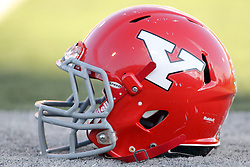 08 November 2014: A Youngstown State helmet sits on the sidelines just before the beginning of the 2nd half during an NCAA Missouri Valley Football Conference game between the Youngstown State Penguins and the Illinois State Redbirds at Hancock Stadium in Normal Illinois