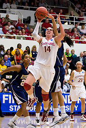 March 20, 2010; Stanford, CA, USA; Stanford Cardinal forward Kayla Pedersen (14) shoot against the UC Riverside Highlanders during the first half in the first round of the 2010 NCAA womens basketball tournament at Maples Pavilion.  Stanford defeated UC Riverside 79-47.