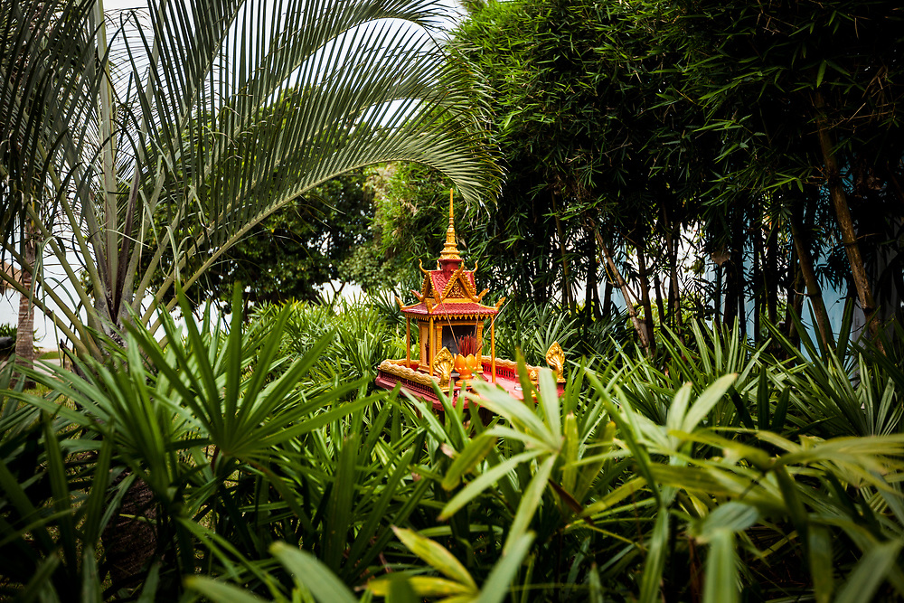 A small altar at the Knai Bang Chatt resort in Kep, Cambodia.