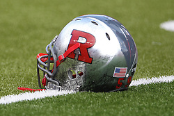Sept 8, 2012; Piscataway, NJ, USA; A Rutgers Scarlet Knights helmet during the pre-game at High Point Solutions Stadium.