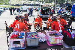 Team meeting of Rally Cycling Team before the start on Stage 2 of the Amgen Tour of California - a 108 km road race, starting and finishing in South Lake Tahoe on May 18, 2018, in California, United States. (Photo by Balint Hamvas/Velofocus.com)