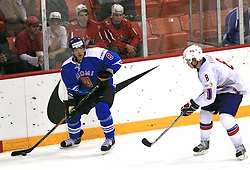Teemu Selanne of Finland and Mads Hansen of Norway at ice-hockey match Norway vs Finland at Preliminary Round (group C) of IIHF WC 2008 in Halifax, on May 05, 2008 in Metro Center, Halifax, Nova Scotia, Canada. (Photo by Vid Ponikvar / Sportal Images)