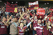 QUEENSLAND MAROONS FANS- STATE ORIGIN GAME 2 - 26TH JUNE 2013. Action from the 2013 NRL State of Origin Rugby League Game 2 between the Queensland Maroons v NSW Blues played at Suncorp Stadium, Brisbane Australia. This image is for Editorial Use Only. Any further use or individual sale of the image must be cleared by application to the Manager Queensland Rugby League Commercial Department. PHOTO : SMP IMAGES