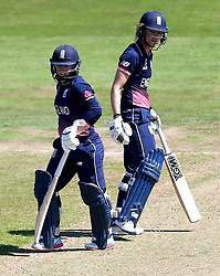 Sarah Taylor of England Women and Tammy Beaumont of England Women during their record partnership - Mandatory by-line: Robbie Stephenson/JMP - 05/07/2017 - CRICKET - County Ground - Bristol, United Kingdom - England Women v South Africa Women - ICC Women's World Cup Group Stage