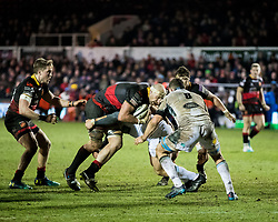 Dragons' Rynard Landman under pressure from Glasgow Warriors' Oliver Kebble<br /> <br /> Photographer Simon King/Replay Images<br /> <br /> Guinness PRO14 Round 14 - Dragons v Glasgow Warriors - Friday 9th February 2018 - Rodney Parade - Newport<br /> <br /> World Copyright © Replay Images . All rights reserved. info@replayimages.co.uk - http://replayimages.co.uk