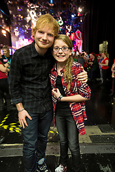 Repro Free: 28/11/2014 Aimee Keogh (11) from Dublin meeta her hero Ed Sheeran on the Late Late Toy Show. Picture Andres Poveda