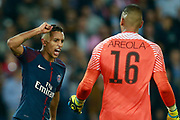 Paris Saint Germain's Brazilian defender Marquinhos gestures Paris Saint Germain's French goalkeeper Alphonse Areola during the UEFA Champions League, Group B football match between Paris Saint-Germain and Bayern Munich on September 27, 2017 at the Parc des Princes stadium in Paris, France - Photo Benjamin Cremel / ProSportsImages / DPPI