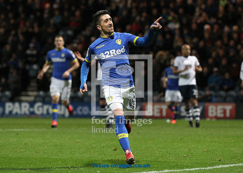 Pablo Hernandez of Leeds United celebrates scoring the fourth goal against Preston North End during the Sky Bet Championship match at Deepdale, Preston.<br /> Picture by Michael Sedgwick/Focus Images Ltd +44 7900 363072<br /> 26/12/2016