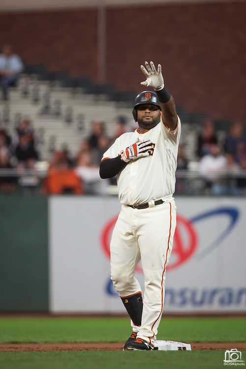 San Francisco Giants third baseman Pablo Sandoval (48) waves to the fans after hitting a double against the Milwaukee Brewers at AT&T Park in San Francisco, California, on August 21, 2017. (Stan Olszewski/Special to S.F. Examiner)