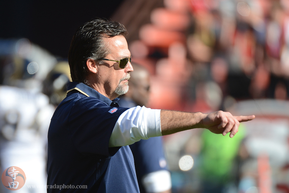 December 1, 2013; San Francisco, CA, USA; St. Louis Rams head coach Jeff Fisher instructs against the San Francisco 49ers before the game at Candlestick Park.