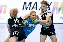 Aneja Beganovic of RK Krim Mercator vs Pia Hren and Anamarija Baruca of RK Zagorje during handball match between RK Zagorje and RK Krim Mercator in Final game of Slovenian Women Handball Cup 2017/18, on April 1, 2018 in Park Kodeljevo, Ljubljana, Slovenia. Photo by Matic Klansek Velej / Sportida