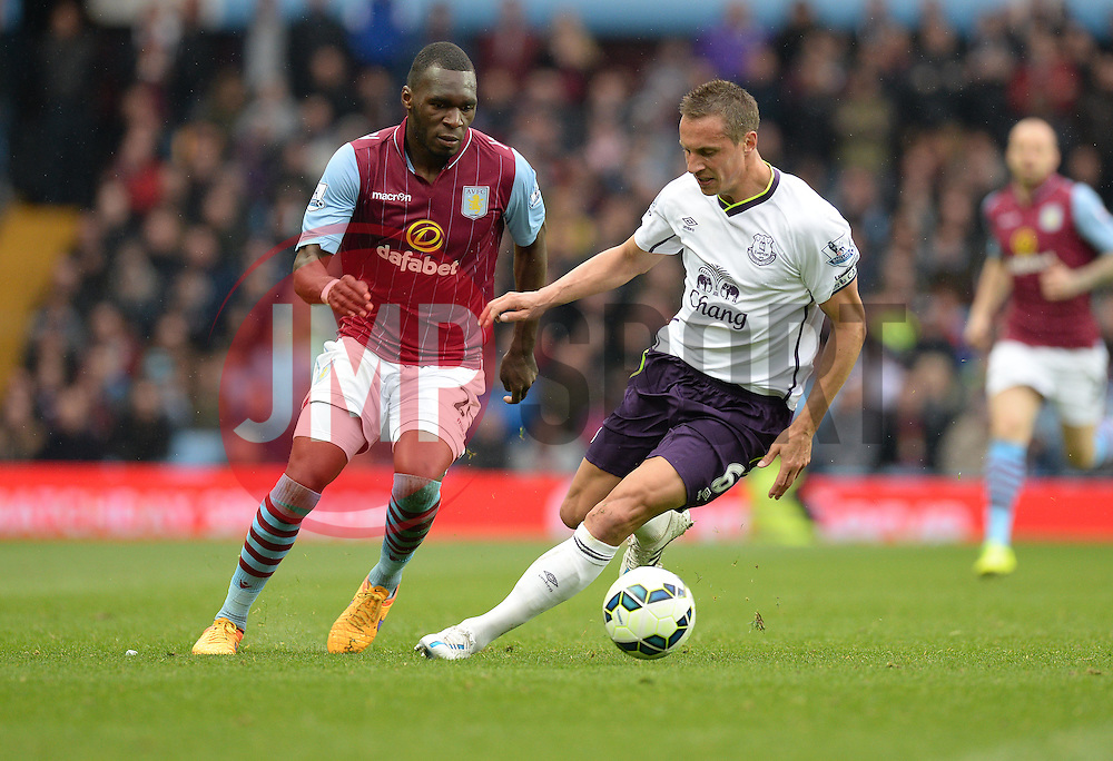 Aston Villa's Christian Benteke looks to take on Everton's Phil Jagielka - Photo mandatory by-line: Alex James/JMP - Mobile: 07966 386802 - 02/05/2015 - SPORT - Football - Birmingham - Villa Park - Aston Villa v Everton - Barclays Premier League