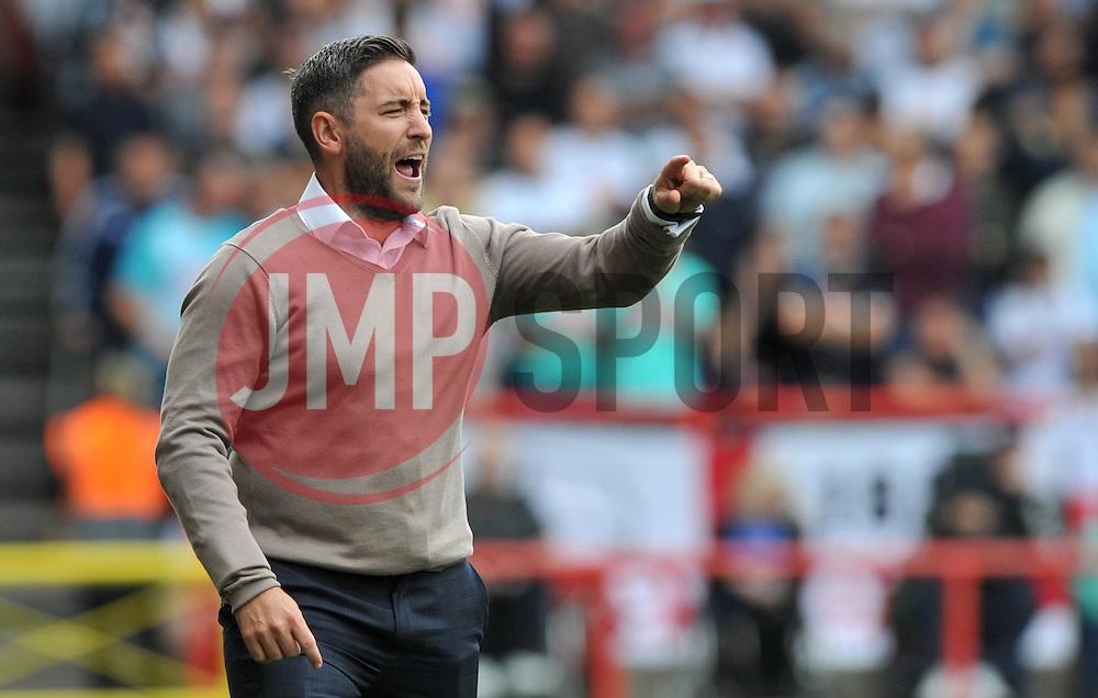 Bristol City head coach Lee Johnson points - Mandatory by-line: Paul Knight/JMP - 17/09/2016 - FOOTBALL - Ashton Gate Stadium - Bristol, England - Bristol City v Derby County - Sky Bet Championship