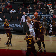 10 December 2016: The San Diego State Aztecs men's basketball team host's Saturday afternoon at Viejas Arena. San Diego State guard Trey Kell (3) goes up for a lay up against an Arizona State defender in the first half. The Aztecs lead the Sun Devils 32-25 at half time. www.sdsuaztecphotos.com