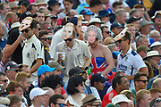 Fans with royal facemasks in the stand during the 5th International Test Match 2019 match between England and Australia at the Oval, London, United Kingdom on 14 September 2019.