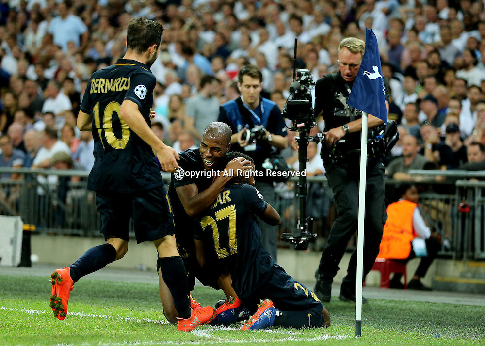 14.09.2016. Wembley Stadium, London, England. UEFA Champions League Football. Tottenham Hotspur versus Monaco. AS Monaco Defender Djibril Sidibé celebrates with AS Monaco Midfielder Thomas Lemar, after Lemar scores Monaco's second past Tottenham Hotspur Goalkeeper Hugo Lloris, 2-0