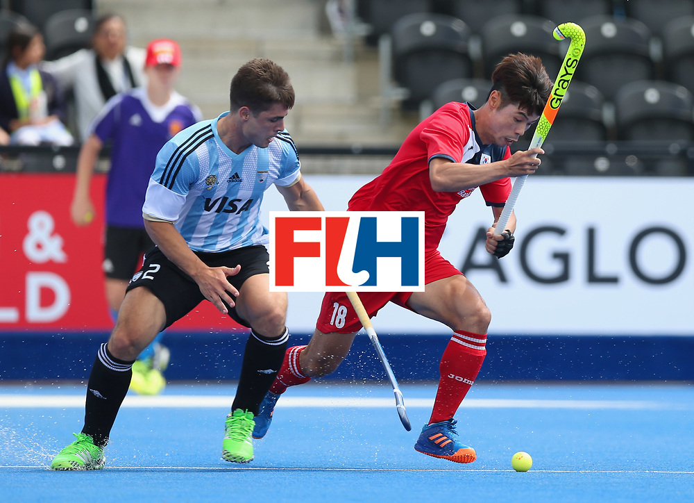 LONDON, ENGLAND - JUNE 15:  Gonzalo Peillat of Argentina and Suk Hoon Cho of South Korea battle for the ball during the Pool A match between Korea and Argentina on day one of Hero Hockey World League Semi-Final at Lee Valley Hockey and Tennis Centre on June 15, 2017 in London, England.  (Photo by Alex Morton/Getty Images)