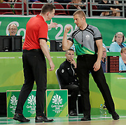 14th April 2018, Gold Coast Convention and Exhibition Centre, Gold Coast, Australia; Commonwealth Games day 10, Basketball, Mens semi final, New Zealand versus Canada; Canadian coach Kirby Schepp argues with umpire Wojciech Liska during the last minutes of the game
