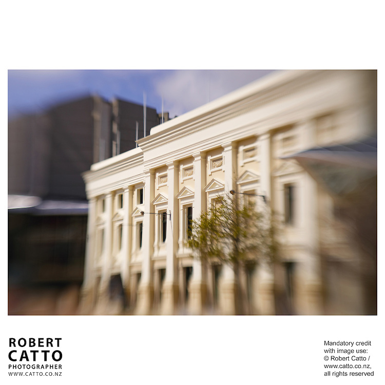 Wellington Town Hall seen through the extremely selective focus of a Lensbaby.